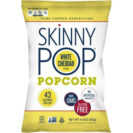 Skinny Pop White Cheddar Popcorn gluten free and non-gmo my favorite