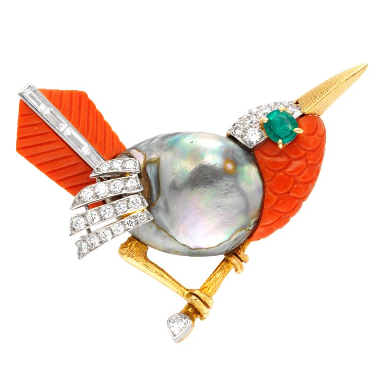CARTIER A Multi-Gem and Diamond 'Bird' Brooch | From a unique collection of vintage brooches at http://www.1stdibs.com/jewelry/brooches/brooches/