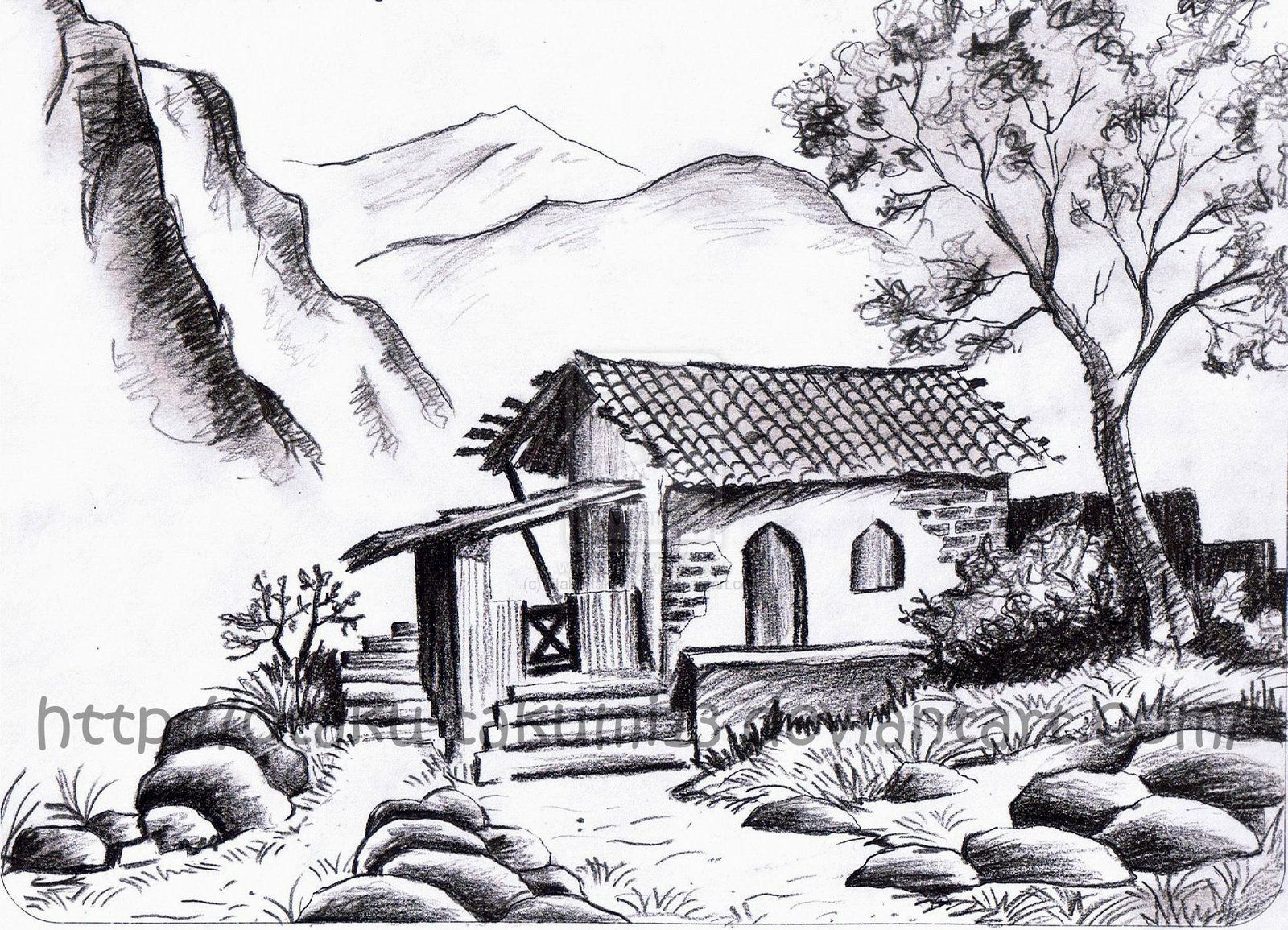Landscape Drawings In Pencil