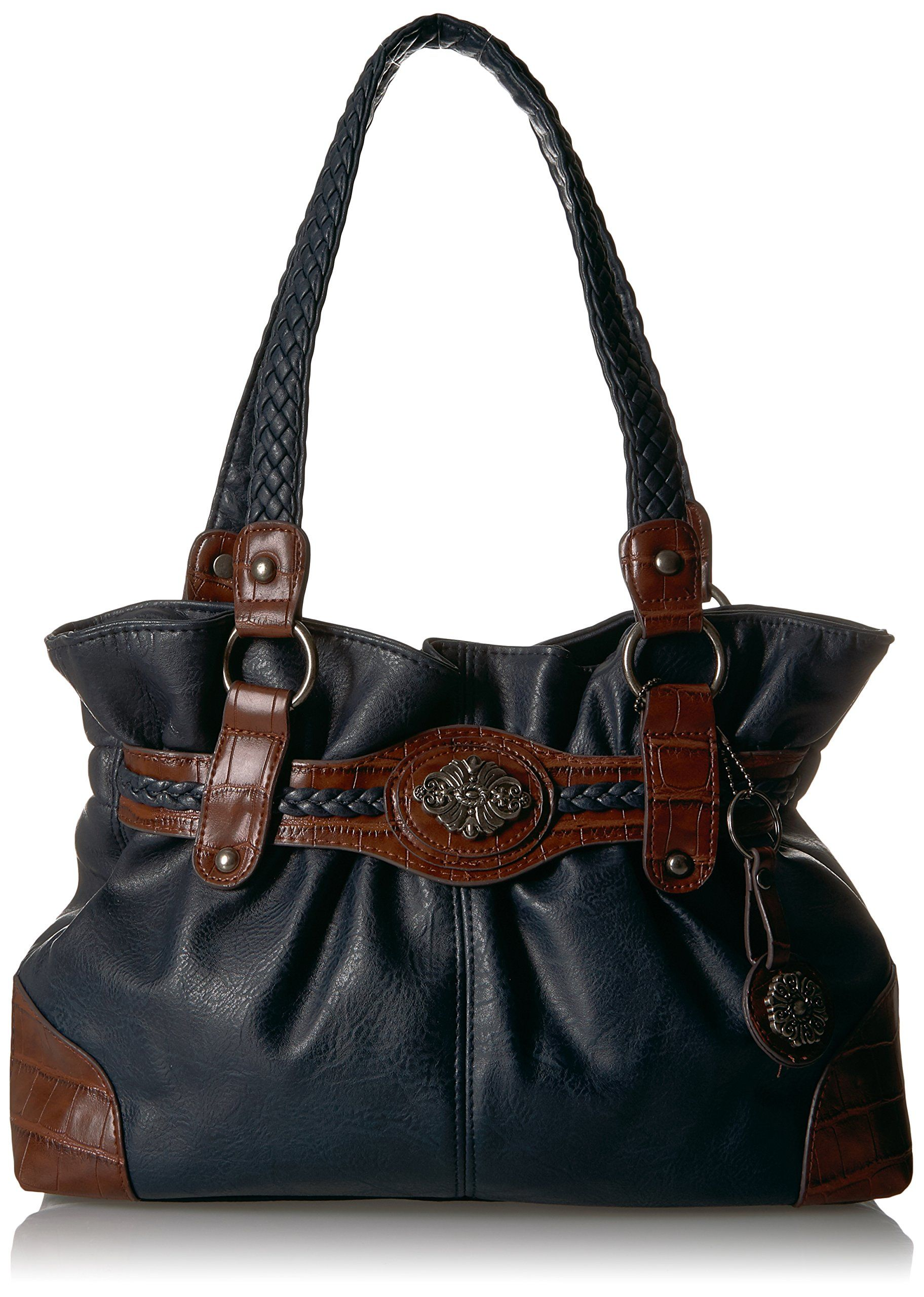 9b24e3b07bc Bueno of California Bueno Faux Leather Mixed Media Tote Navy Tobacco      You can find more details by visiting the image link.(It is Amazon  affiliate link) ...