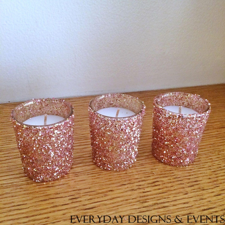 25 rose gold votive candles wedding centerpiece rose gold centerpieces rose gold wedding. Black Bedroom Furniture Sets. Home Design Ideas