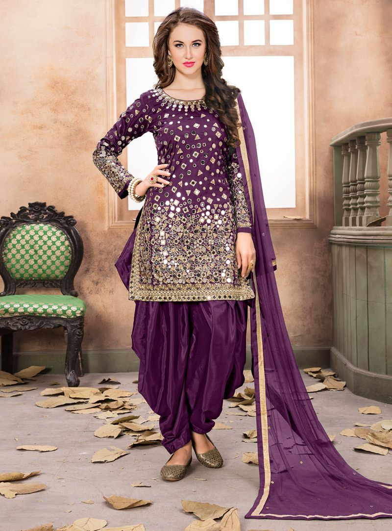 f86d3e82fb Purple Taffeta Silk Patiala Suit 116791 | Punjabi Salwar Kameez ...