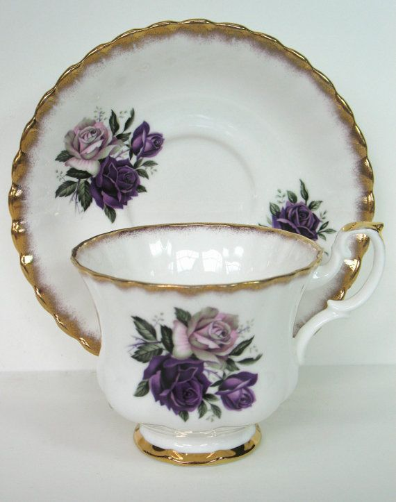 Purple Teacup Purple Rose Teacup Royal Imperial Tea Cup Collection Tea Service MicheleACaron on Etsy, $28.00