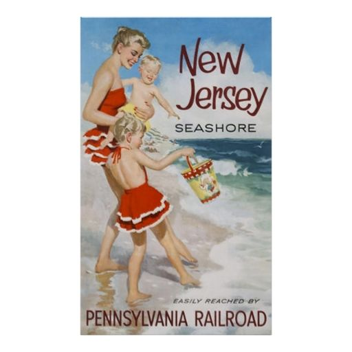 New Jersey Seahore, Travel Vintage Poster