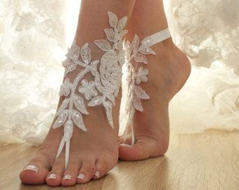 b8eeb81a0 Free Ship ivory or white pink floral barefoot by ByMiracleBridal. Barefoot  BeachBeach Wedding Barefoot SandalsBridal ...