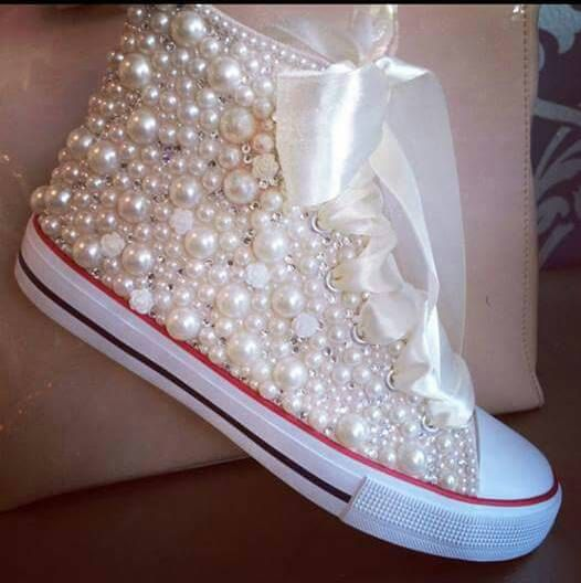 6133ce35558 Fully Loaded- Pearls   Bling- Bridal Custom Converse by DivineKidz on Etsy
