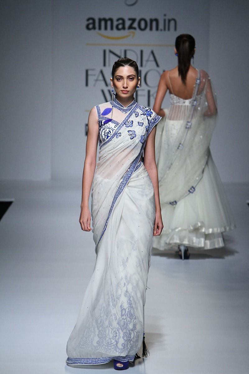 Saree for fashion show rabani and rakha at amazon india fashion week springsummer