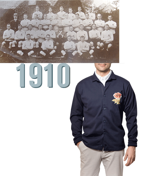 Maillots vintage Cardigan Angleterre 1910 de rugby pour