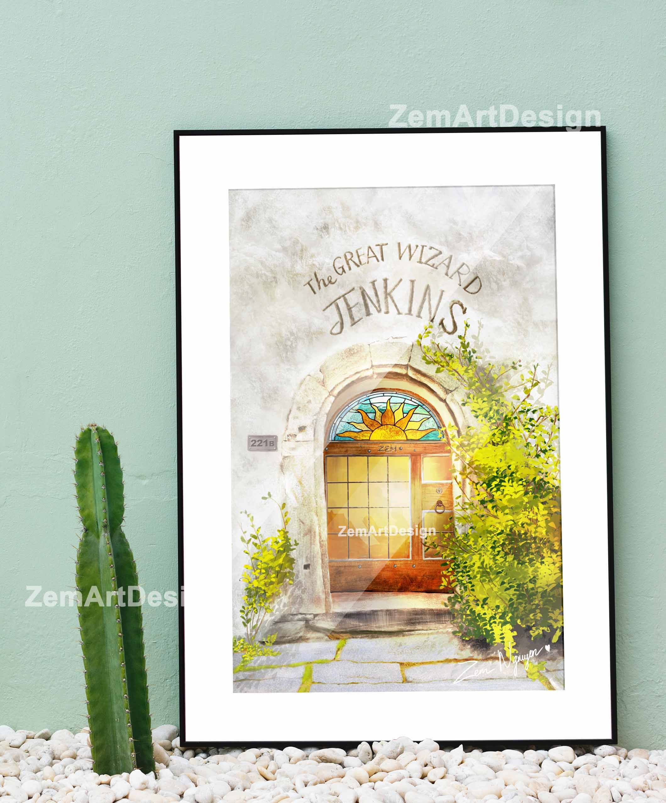 Arched Doors House Illustration Home Wall Decor Offical Decor