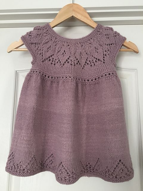 Ravelry: Anya Dress pattern by Suzie Sparkles  for baby to 6 year old girl.   Knitted dress knitting pattern baby babies girls. Seamless knit. Lace yoke