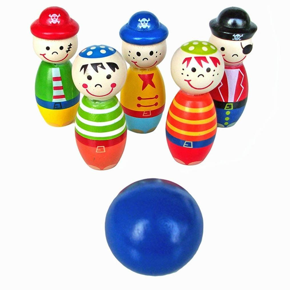 Bolayu Children Wooden Bowling Ball Skittle Funny Shape For Kids Game Toys Material Wool Ball Size 4 4cm Bottle Siz Shapes For Kids Bowling Toys Kids Toys