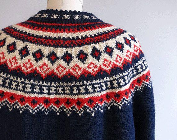 Vintage Nordic Wool Fair Isle Cardigan / 1960s Hand Knit Sweater ...