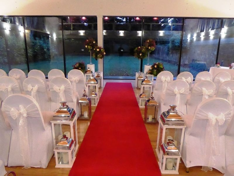 Ceremony red carpet aisle at Carberry Tower