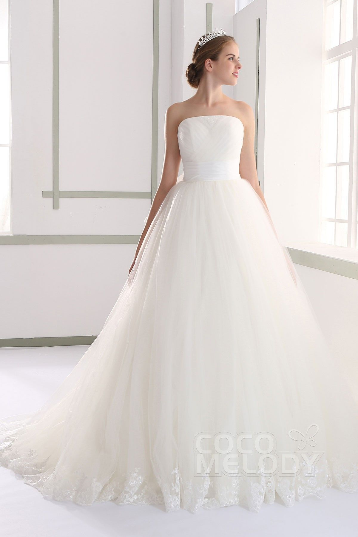 Fabulous A-Line Strapless Natural Court Train Tulle Ivory Sleeveless ...