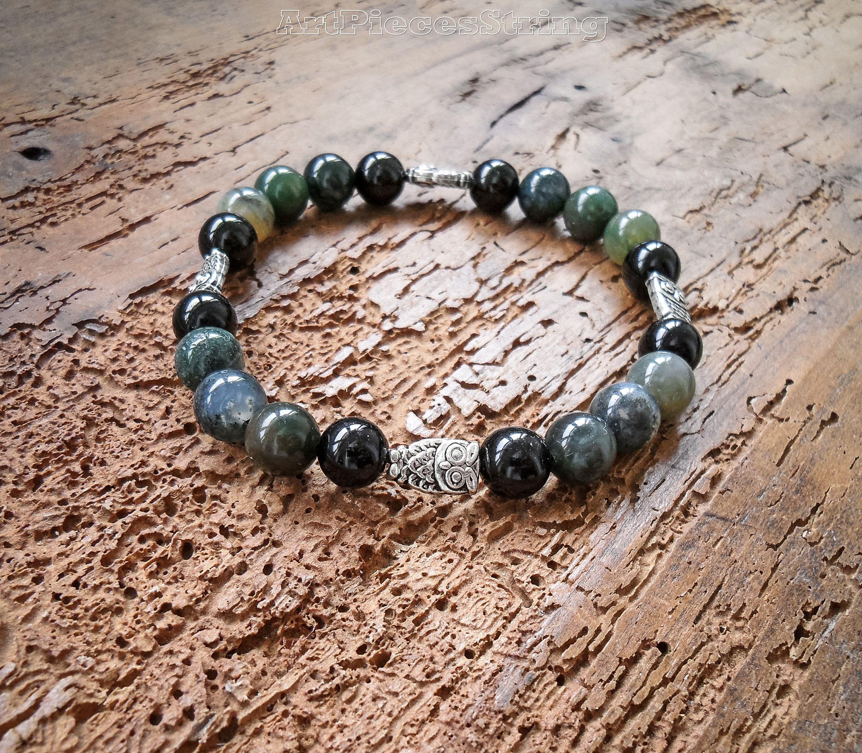 Owl bracelet agate women bracelet owls multicolored agate bracelet