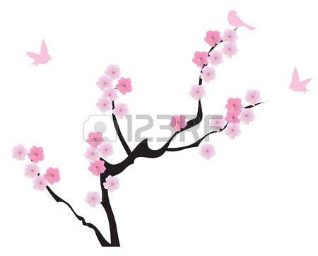 Branches Cerisiers En Fleurs Avec Des Oiseaux Japon