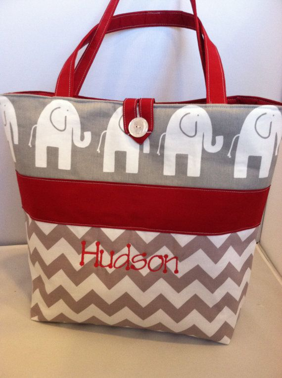 Modern Custom Diaper Bag Ella Elephants And Chevron Personalized With Your Choice Of Accent Color