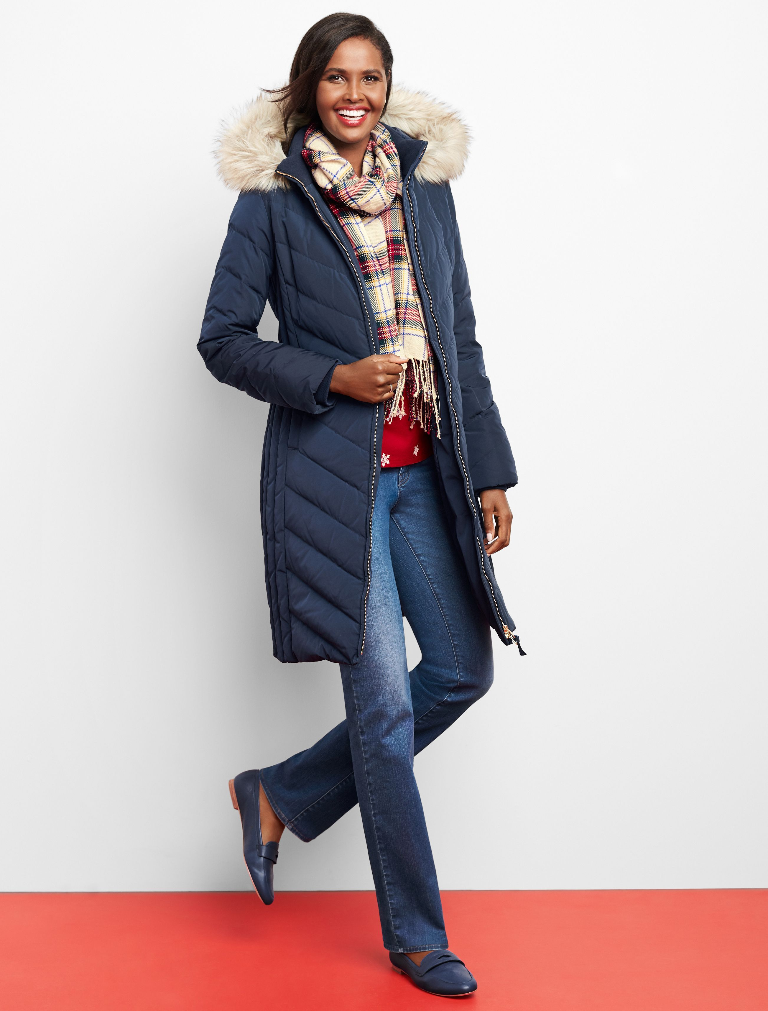 Brave The Elements With Confidence In This Ultra Cozy Long Puffer Jacket Diagonal Quilting Flatters Your Fig Puffer Jacket Long Jeans And Boots Winter Outfits [ 3428 x 2605 Pixel ]