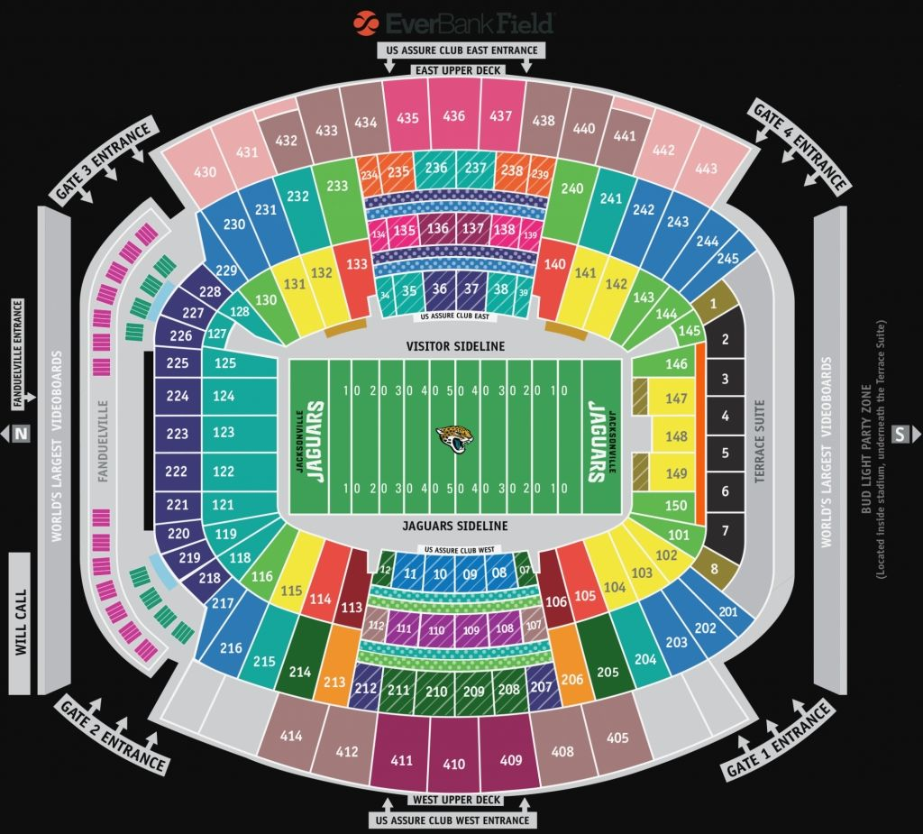 Everbank Field Seating Chart With Rows Seating Charts Jaguars Stadium Jaguars