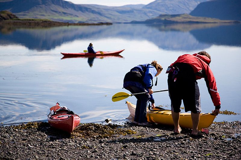 Kayaking Experiences in Iceland For the experienced kayaker only. Iceland's northwest fjords are as stunning, the most rugged part of the country and is home to whales, seals, and birds of prey that nest on the dramatic cliffs.  http://www.iceland.eskimos.is/Viewproduct/kayaking-tours-iceland