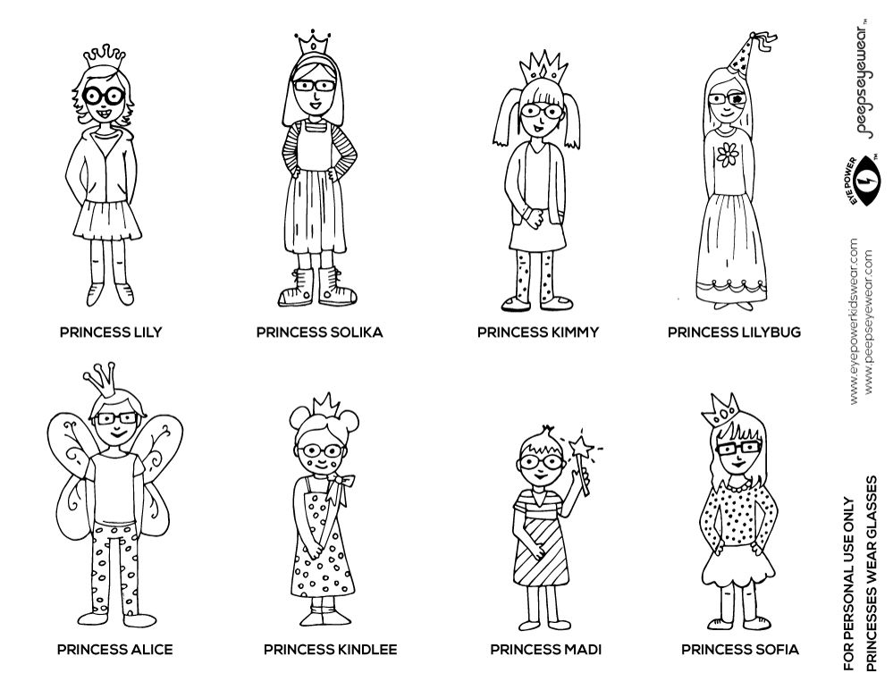 Coloring pages of children wearing afo ~ Free Glasses Princesses coloring Page Printable by ...