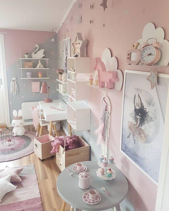 raumgestaltung ideen babyzimmer grau rosa dekoration tipps ...