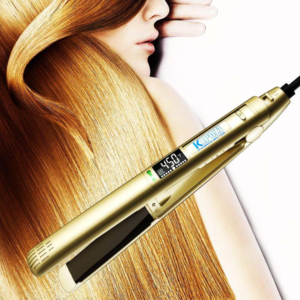 KIPOZI Pro Flat Iron 1 Inch Titanium Ion plates Hair