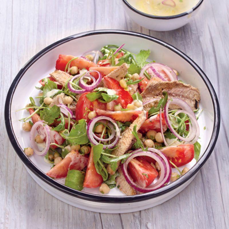 Salade aux pois chiches et aux sardines