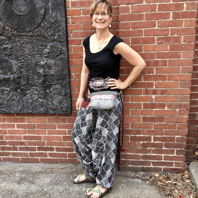 Fannypack Waist bag vegan Hip bag Belt Pouch adjustable converts to small purse Bum Bag Tough Upholstery Tapestry Batik Pat Halpen original