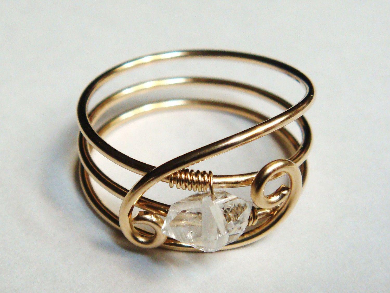 Herkimer Diamond Ring - Sara\'s Serenity Herkimer Gemstone 14K Gold ...