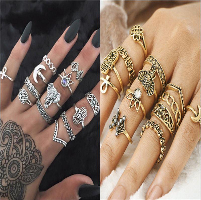 10Pcs//Set Elephant Finger Knuckle Ring Band Boho Retro Midi Rings Stacking Ring
