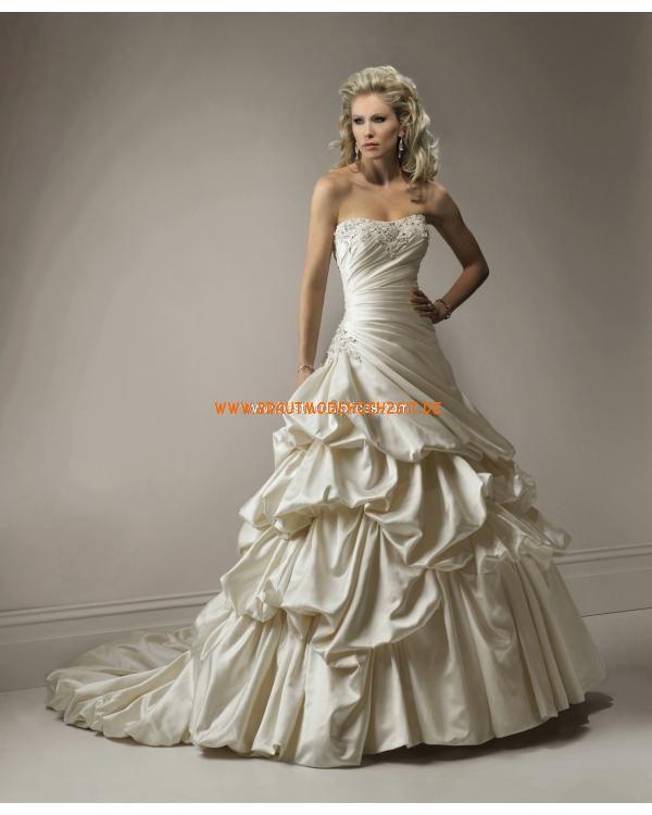 Plissiertes schönes Brautkleid aus Taft Bodenlang A-Linie Trägerlos ...
