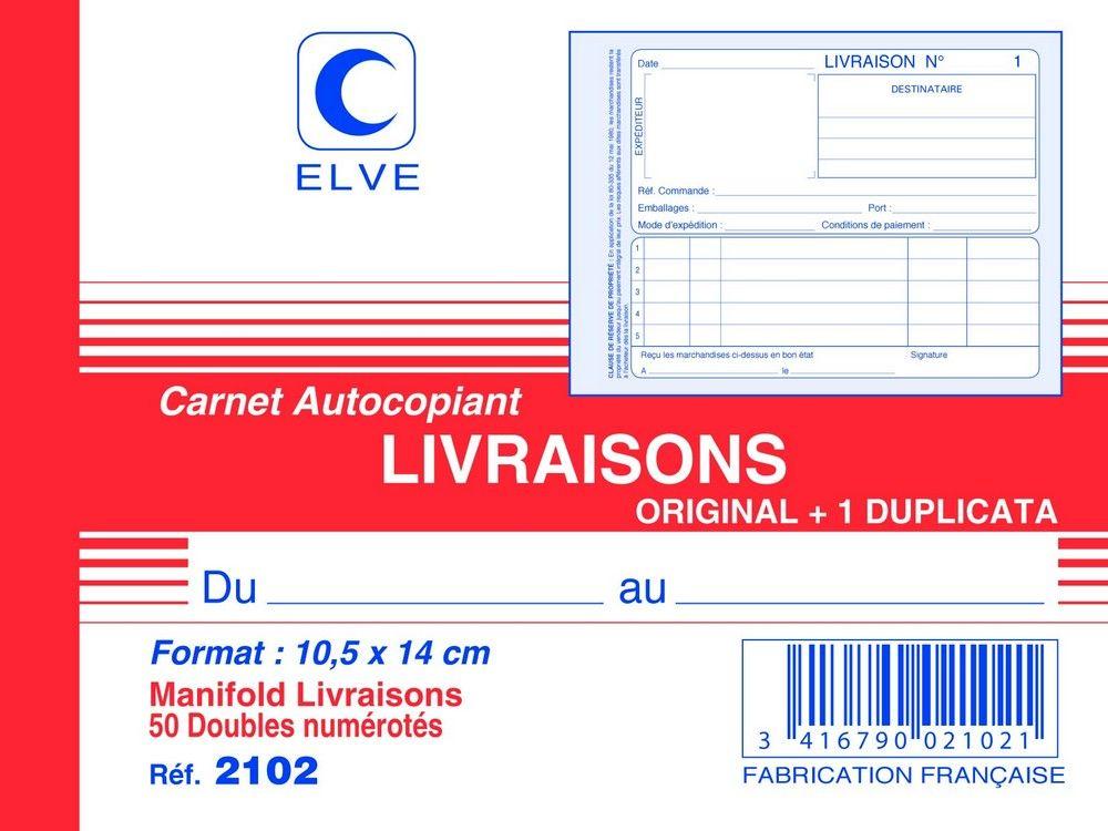 Livraison Carnet 140 X 105 Mm Autocopiant Dupli Elve Carnet