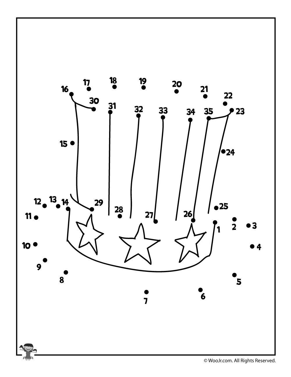 Uncle Sam Hat Dot To Dot Page Woo Jr Kids Activities Activities For Kids Dotted Page School Age Activities [ 1294 x 1000 Pixel ]