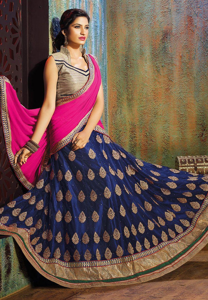 f72fe742c9 Buy Dark Blue Net Lehenga Choli with Dupatta online, work: Embroidered,  color: Dark Blue, usage: Wedding, category: Lehenga Choli, fabric: Net, ...