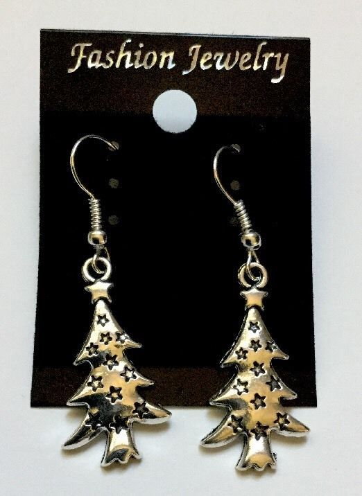 Cute Christmas Tree With Stars Silver Fashion Dangle Earrings New Gift Stockings  | eBay