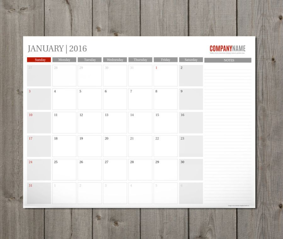 Monthly desk and wall planner template design PM-W4a CalendarS - sample monthly calendar