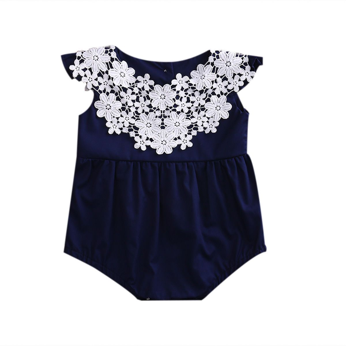 Newborn Baby Girl Lace Stitching Clothes Cotton Romper Navy Blue Jumpsuit Sun-suit Outfits