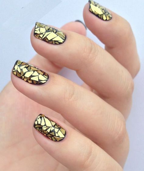 Most Beautiful Golden Stained Glass Nail Art Makeup Nails More