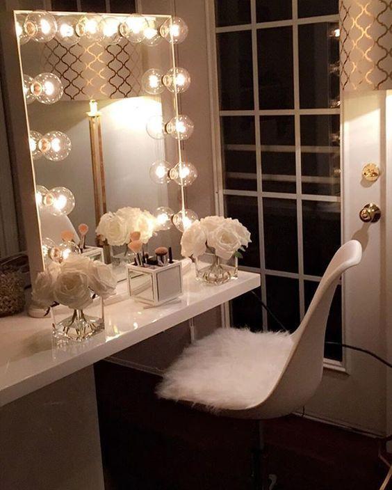 Beautiful vanity dressing table with lights because your beauty beautiful vanity dressing table with lights because your beauty matters mira design interiors makeup room pinterest alondra aloadofball Gallery