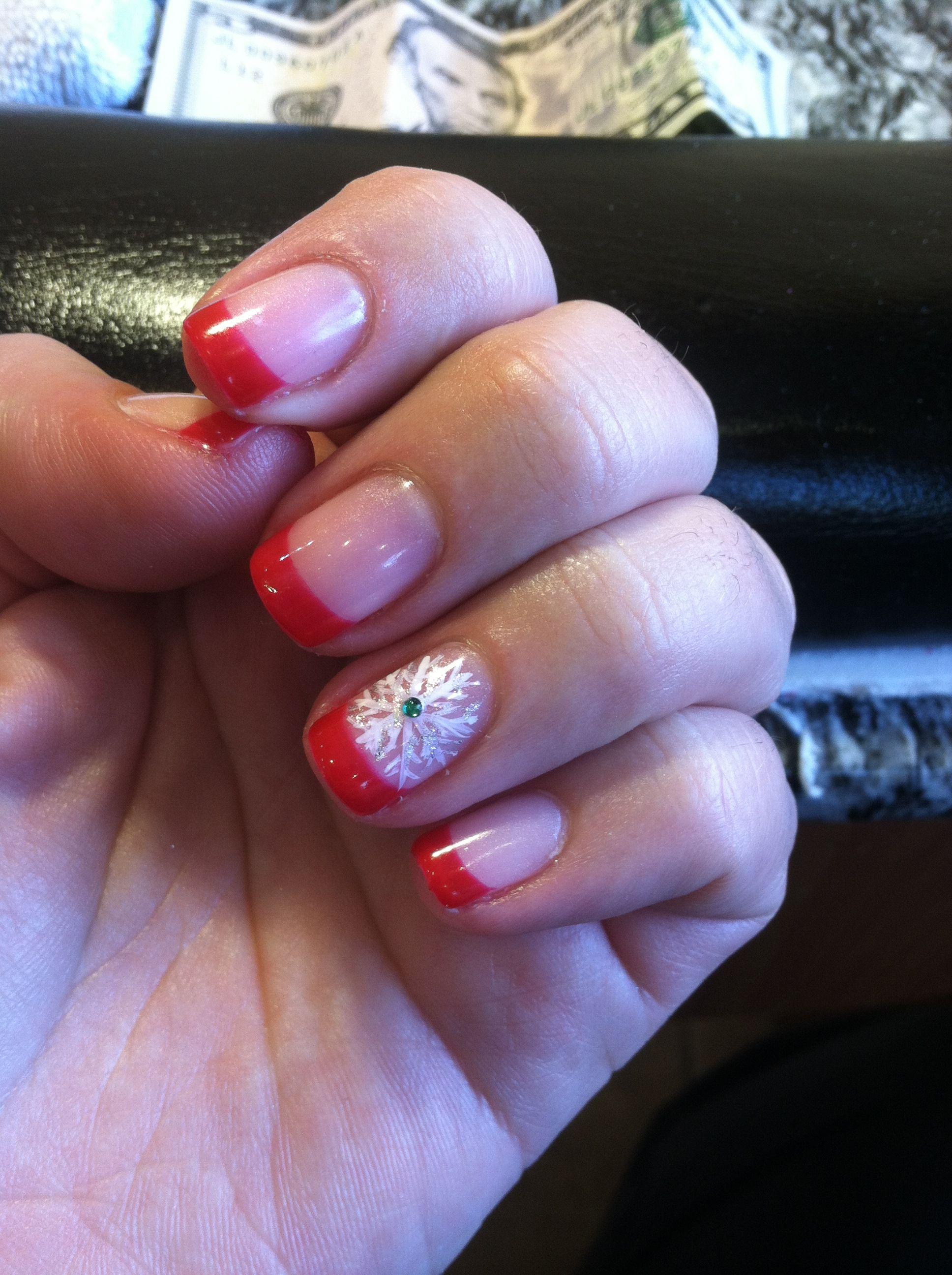 Red tip snowflake accent nail gel polish   Mani/Pedi ideas ...