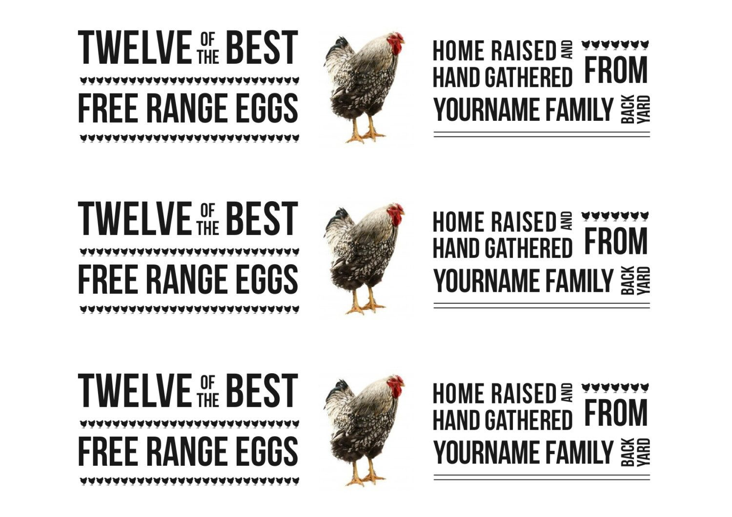 Personalised Egg Carton Labels Version To Print On A4