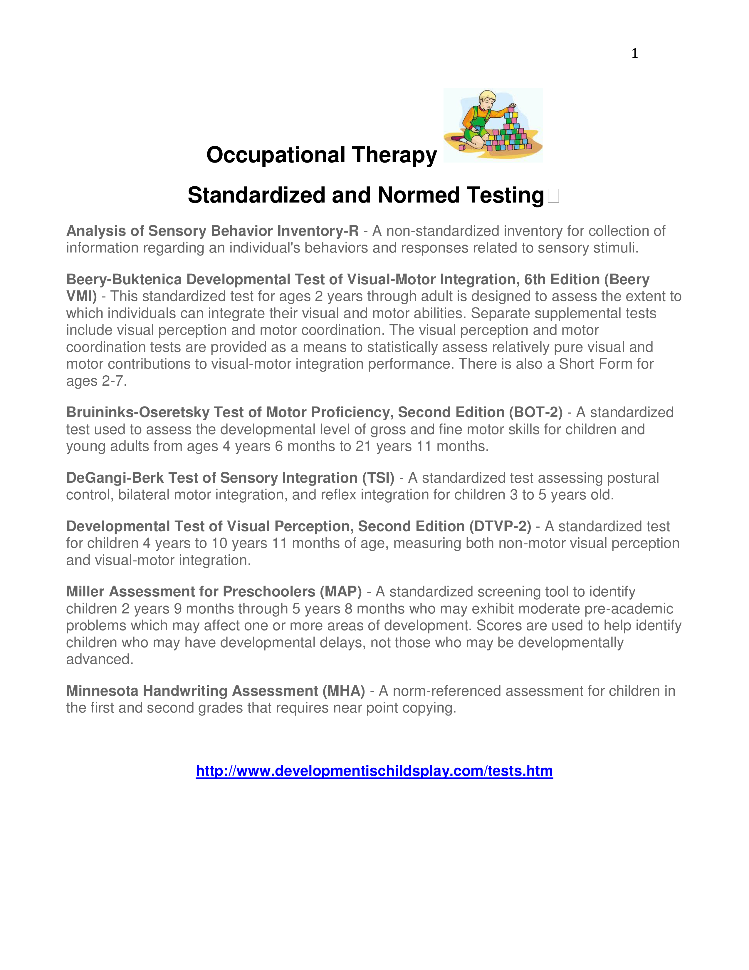Ot Standardized Tests Page 1 Ot