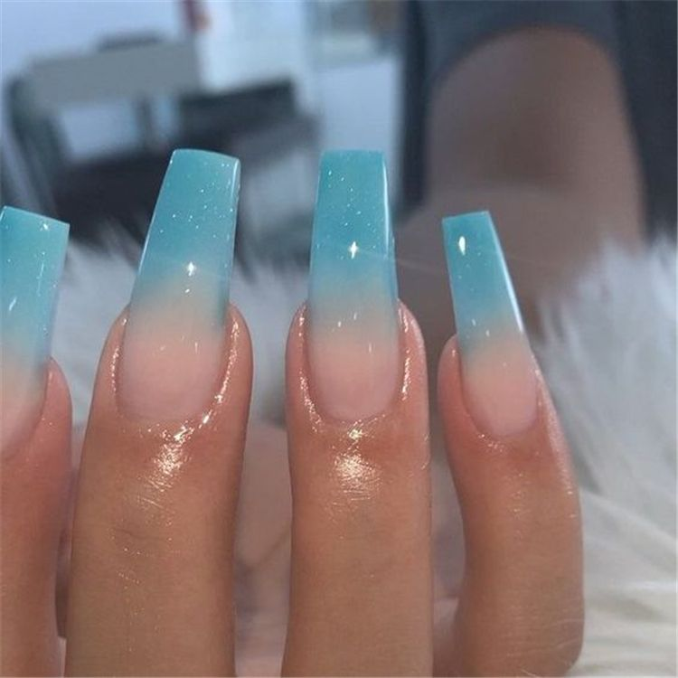The Most Beautiful Ombre Acrylic Nails Designs You Ll Like Baby Boomer Coffin Nails Ombre Nails Acr In 2020 Ombre Acrylic Nails Blue Ombre Nails Blue Acrylic Nails