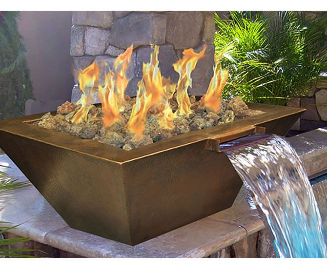 Gas Fire Pit Water Feature With Electronic Ignition