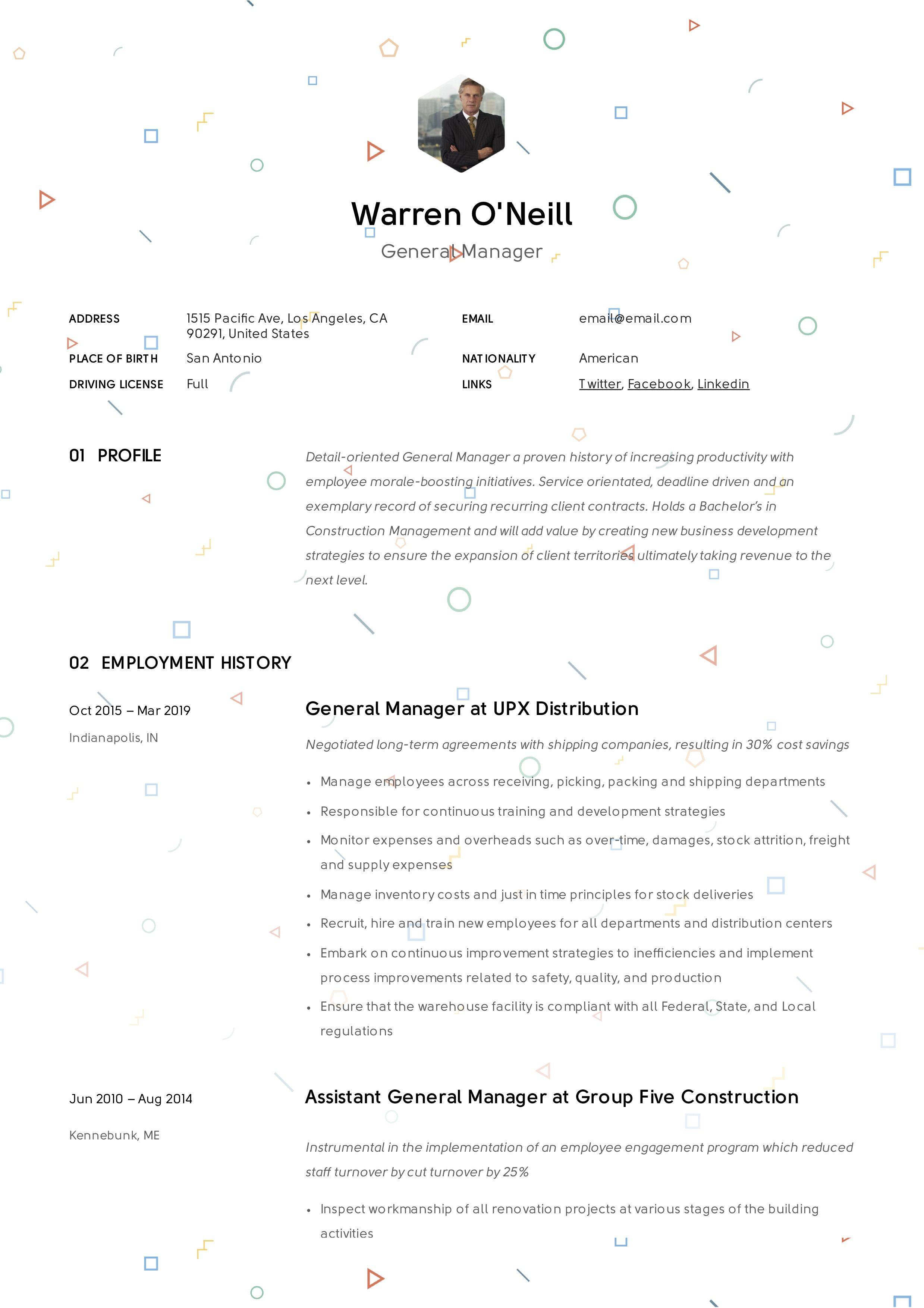 General manager resume sample in 2020 manager resume