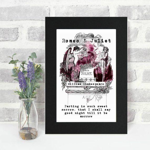 Romeo und Julia Druck Shakespeare Zitat literarische