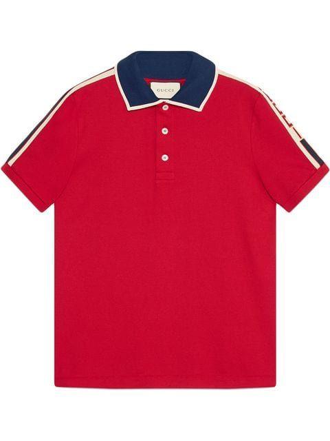 82c6ade9d Gucci Red Gucci Stripe polo shirt | Polo | Striped polo shirt, Gucci ...