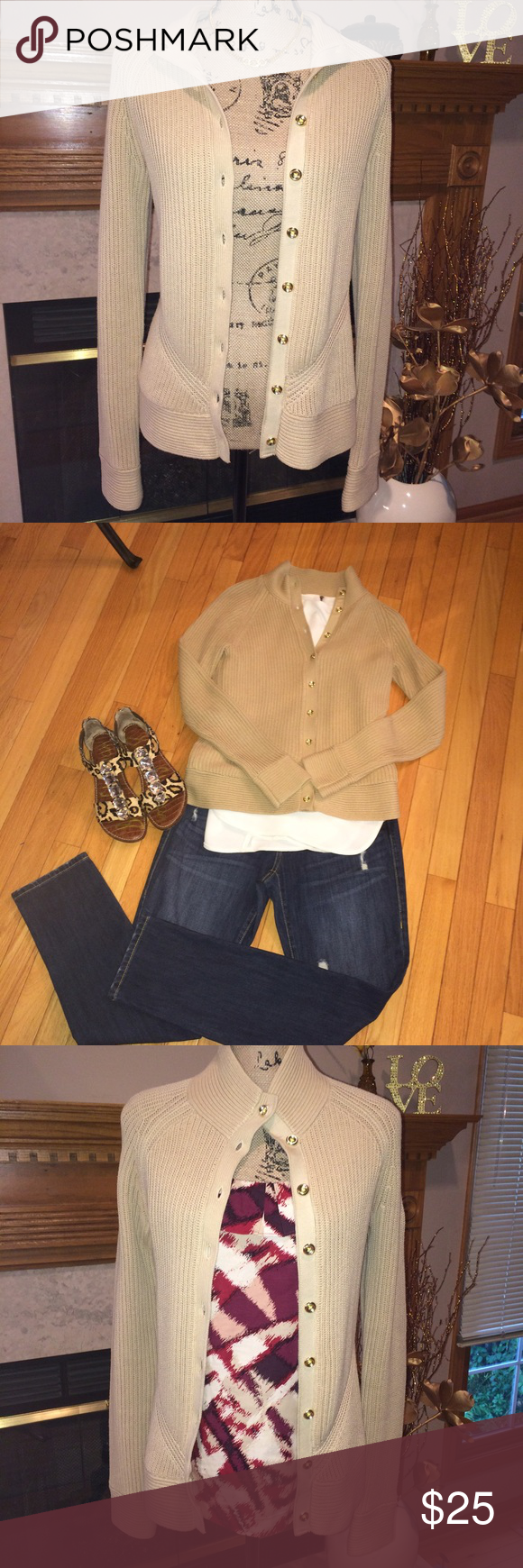 Banana Republic cardigan VGUC, Banana Republic ribbed cardigan with gold buttons. Wear it with a simple white top as shown or looks cute paired with the Ann Taylor tank top in my closet. Banana Republic Sweaters Cardigans