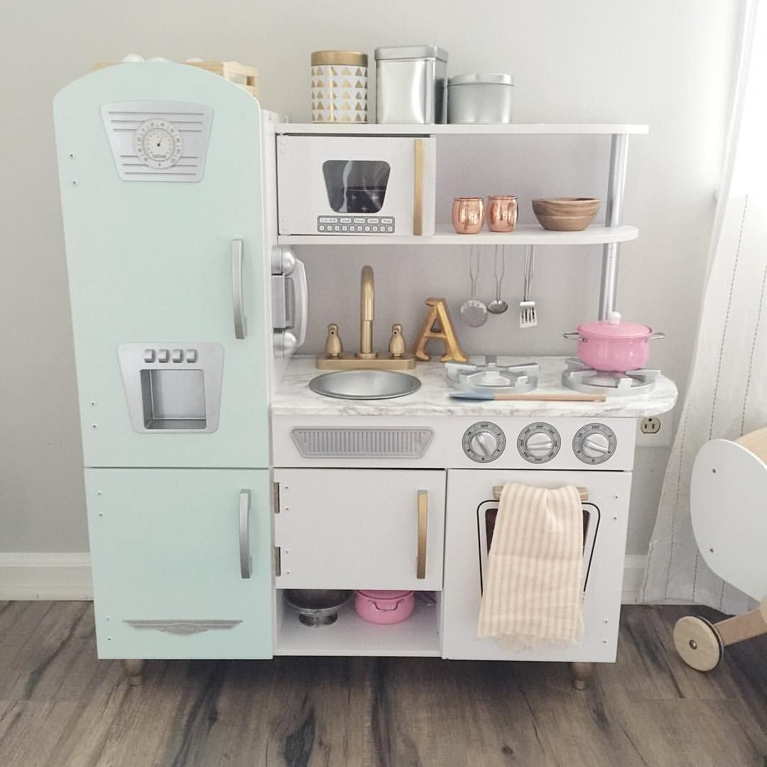 Gentil Kid Kraft Kitchen Hack. Kid Kraft Kitchen Makeover. And The Details   @kidkraft_lp Vintage White Kitchen. Painted The Fridge Mint Green.
